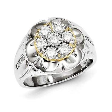 Sterling Silver with 10k Gold Diamond Men's Ring - shirin-diamonds