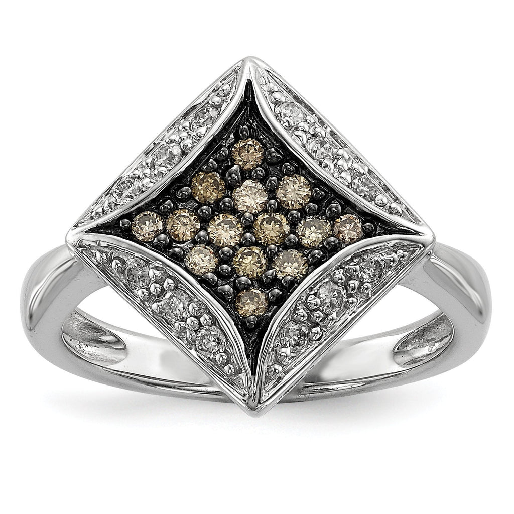 Sterling Silver Champagne Diamond & Diamond Shape Ring - shirin-diamonds