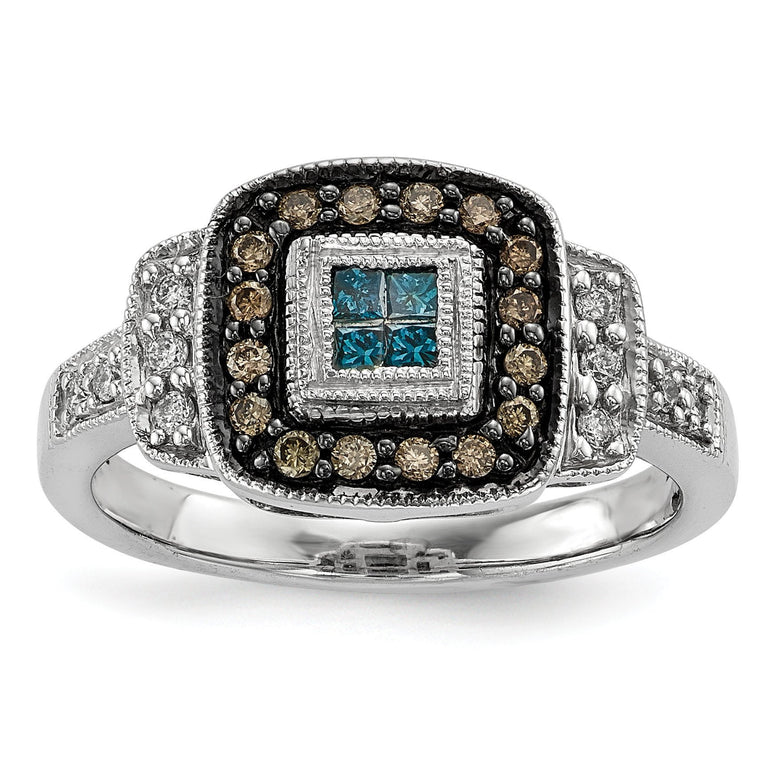 Sterling Silver Antiqued Square White, Champagne & Blue Diamond Ring - shirin-diamonds