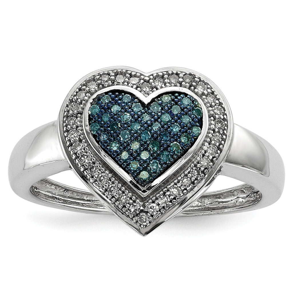Sterling Silver Blue and White Diamond Heart Ring - shirin-diamonds