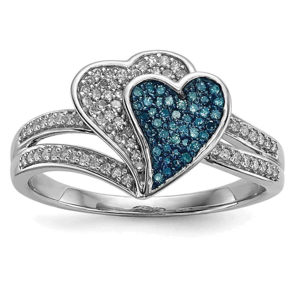 Sterling Silver Rhodium Plated Blue & White Diamond Hearts Ring - shirin-diamonds