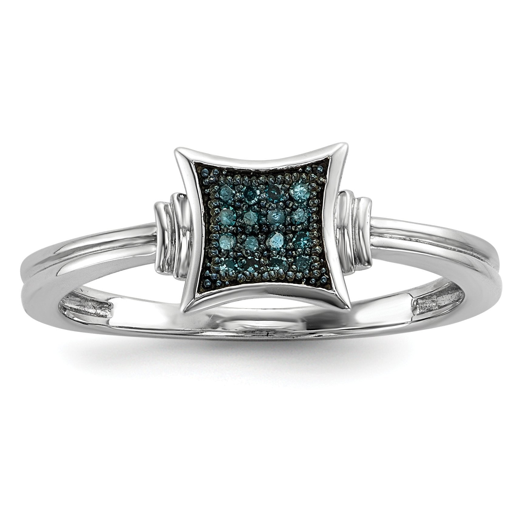 Sterling Silver with White/Blue Diamonds Square Ring - shirin-diamonds