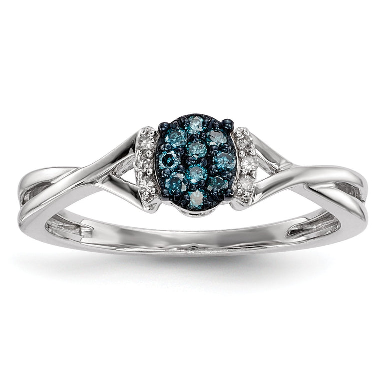 Sterling Silver Blue & White Diamond Oval Ring - shirin-diamonds