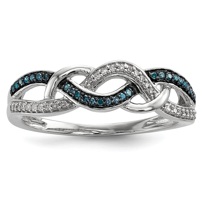 Sterling Silver Blue and White Diamond Ring - shirin-diamonds