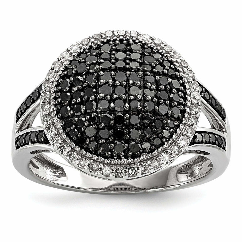 Sterling Silver Black & White Diamond Round Ring - shirin-diamonds