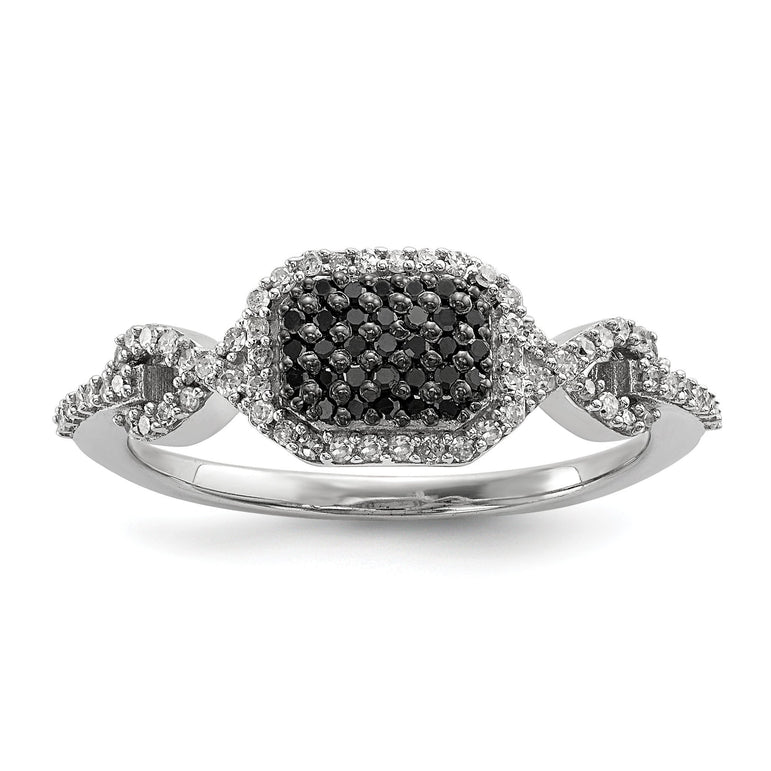 Sterling Silver Black and White Diamond Ring - shirin-diamonds