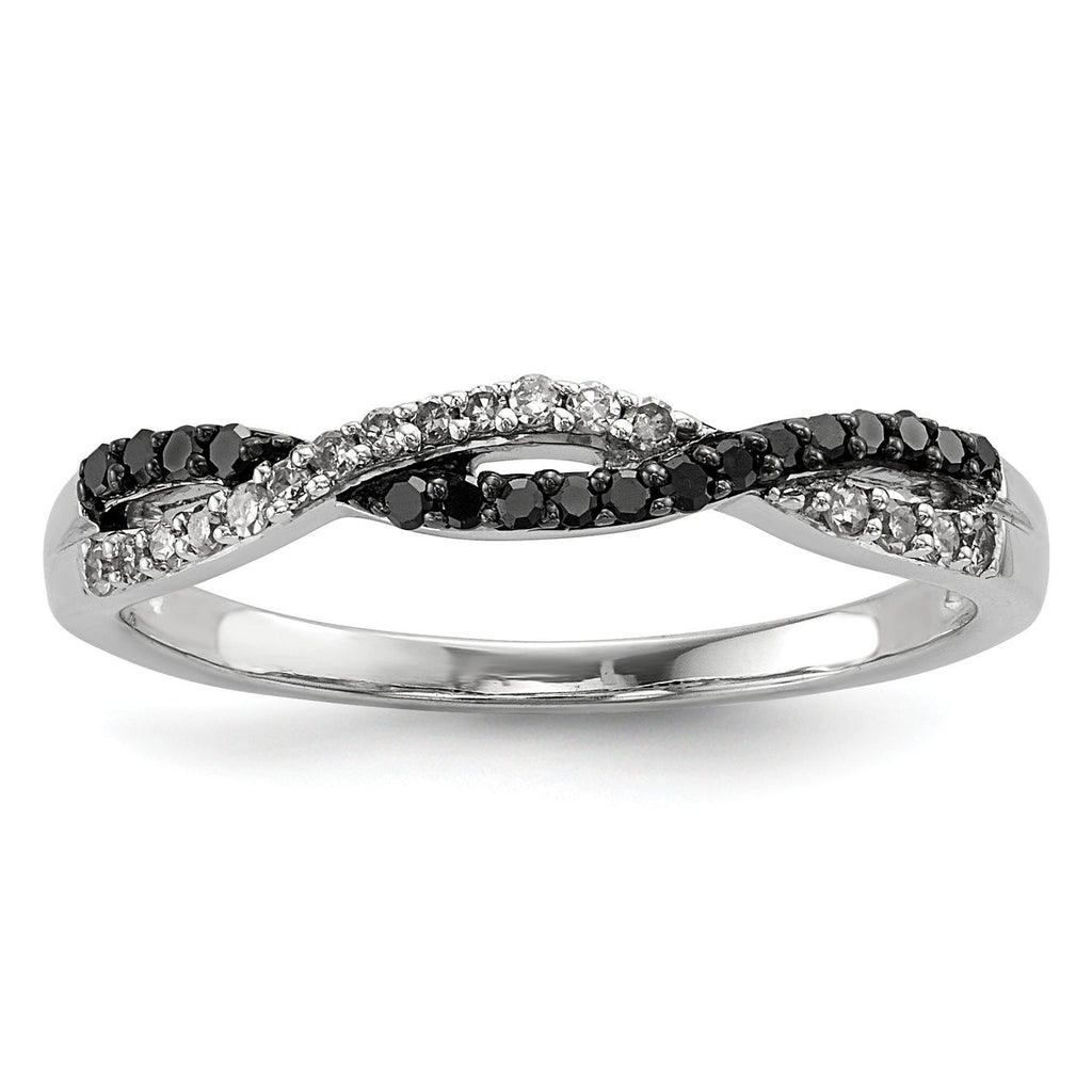 Sterling Silver Rhodium Plated Back & White Diamond Ring - shirin-diamonds