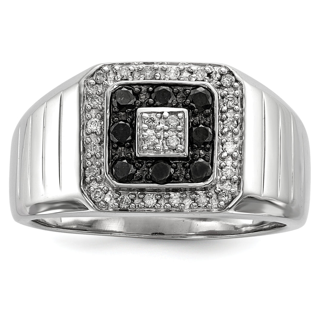 Sterling Silver Rhodium Plated Black and White Diamond Men's Ring - shirin-diamonds