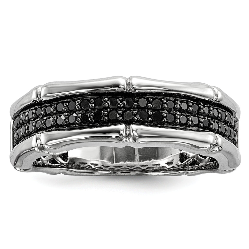 Sterling Silver Black Diamond Men's Ring - shirin-diamonds