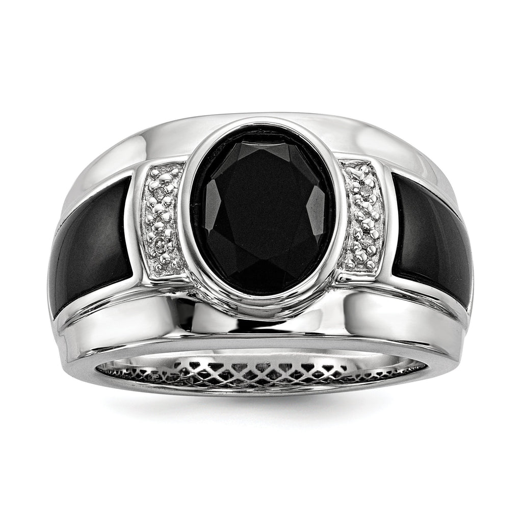 Sterling Silver Diamond & Onyx Men's Ring - shirin-diamonds
