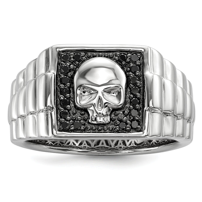 Sterling Silver Black Diamond Square Skull Men's Ring - shirin-diamonds