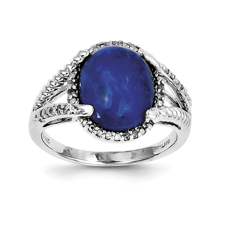 Sterling Silver Rhodium-plated Lapis and Diamond Ring - shirin-diamonds