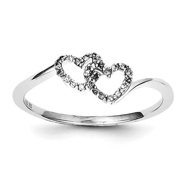 Sterling Silver Rhodium Plated Diamond Double Heart Promise Ring - shirin-diamonds