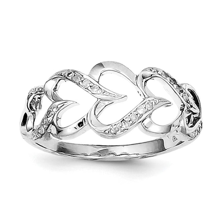 Sterling Silver Rhodium Plated Diamond Heart Ring - shirin-diamonds