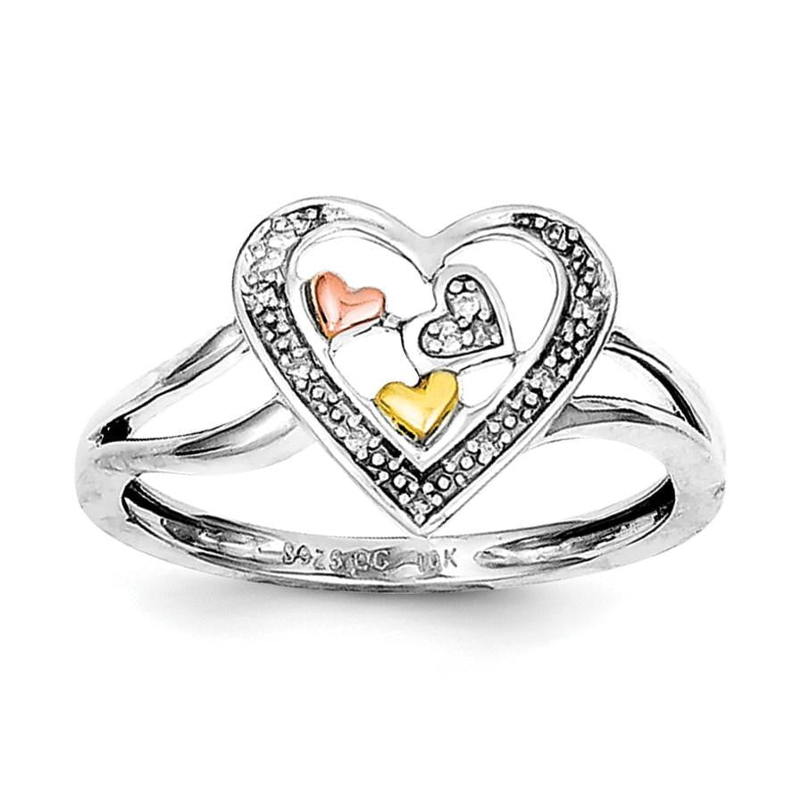 Sterling Silver Rhodium & 14K Yellow & Rose Gold Diam. Heart Ring - shirin-diamonds