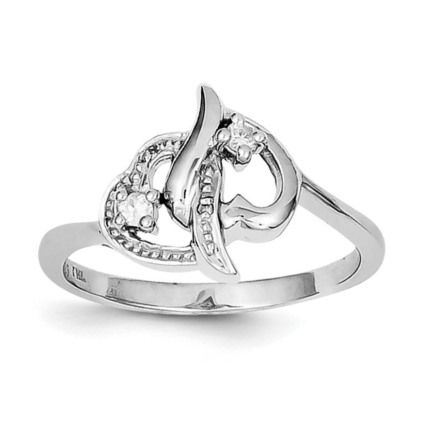 Sterling Silver Rhodium Plated Diamond Double Heart Ring - shirin-diamonds