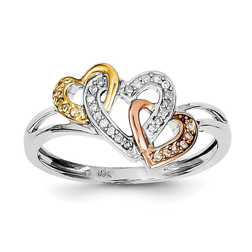 Sterling Silver Rhodium & 14k Yellow/Rose Gold Diam.s Three Heart Ring - shirin-diamonds