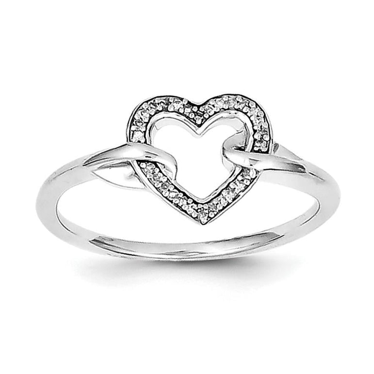 Sterling Silver Rhodium Diam. Heart Ring - shirin-diamonds