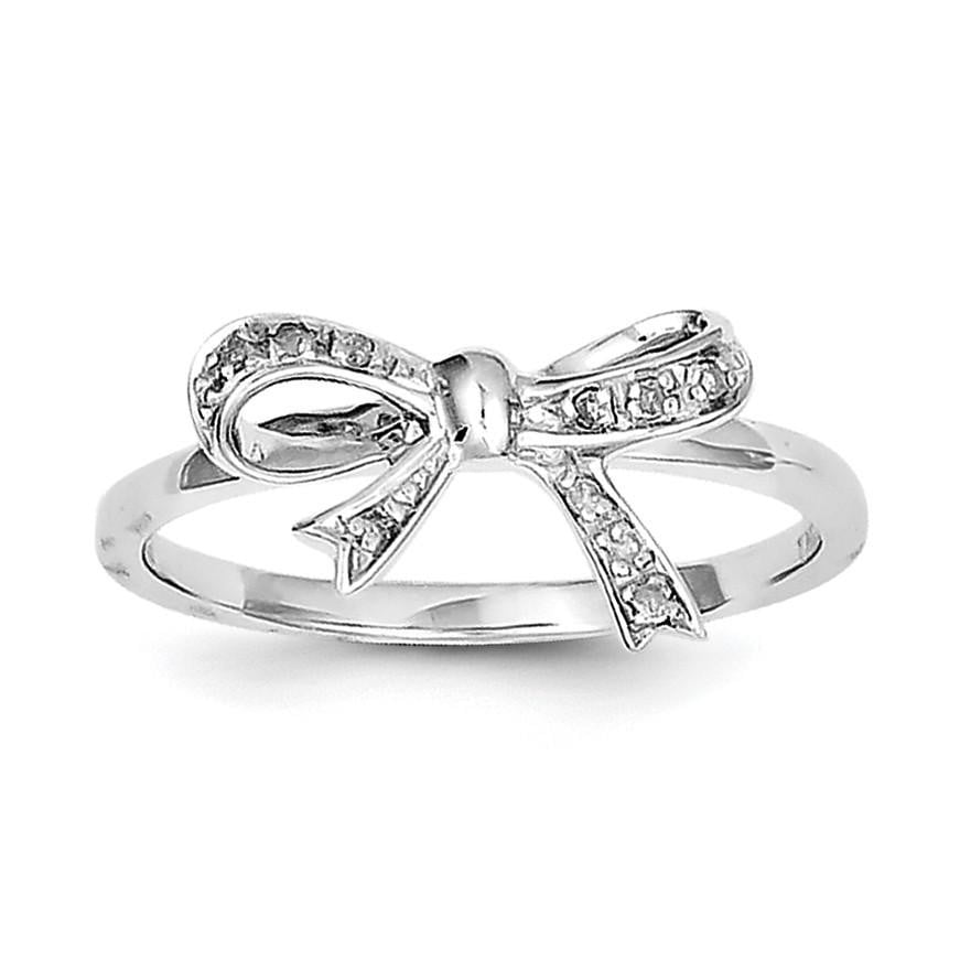 Sterling Silver Rhodium Plated Diamond Bow Ring - shirin-diamonds