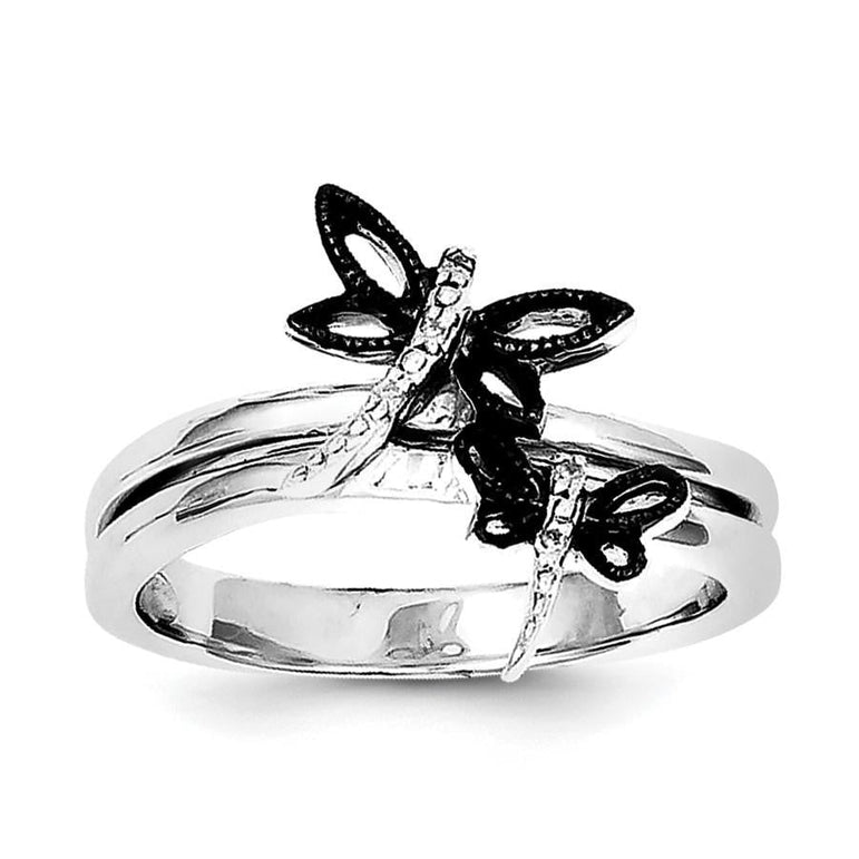 Sterling Silver Diamond Black Rhodium-plated Dragonfly Ring - shirin-diamonds