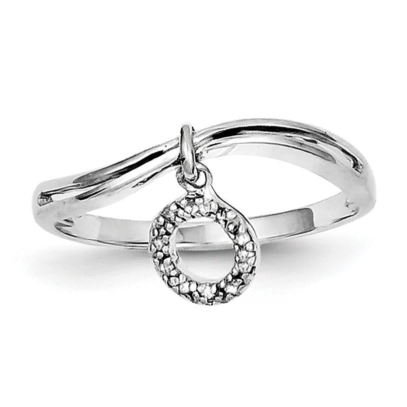 Sterling Silver Rhodium Plated Diamond Circle Dangle Ring - shirin-diamonds