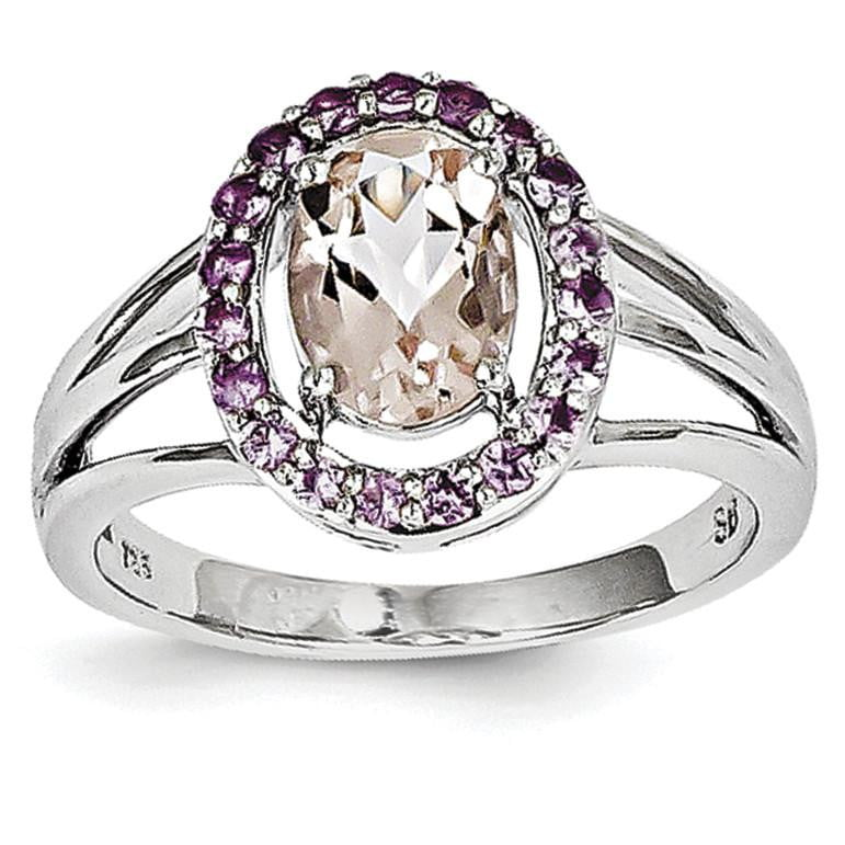 Sterling Silver Rhodium Morganite & Pink Sapphire Oval Ring - shirin-diamonds
