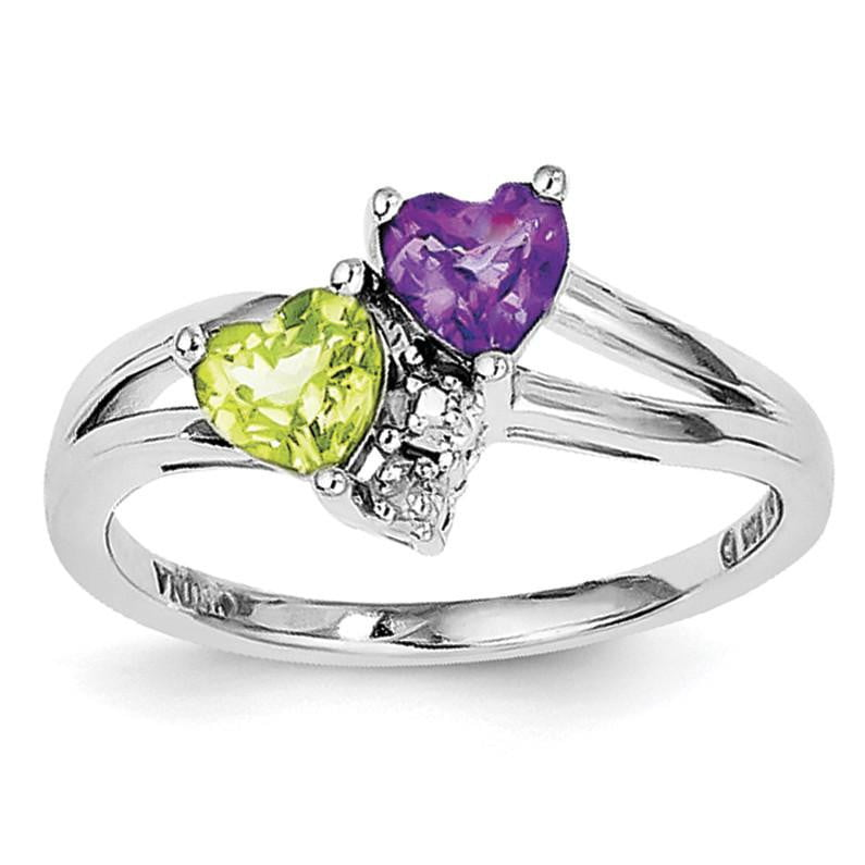 Sterling Silver Rhodium Amethyst & Peridot Diam. Ring - shirin-diamonds