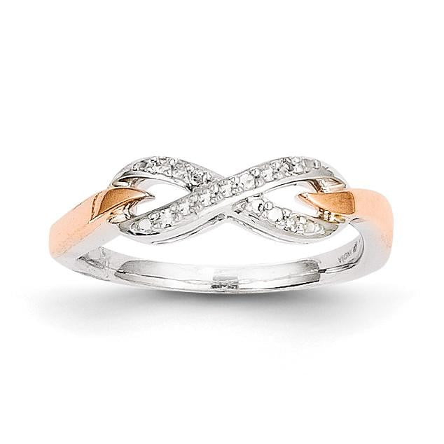 Silver Silver & 14k Rose Gold Diamond Fashion Ring