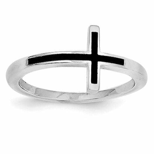 Sterling Silver Antiqued Sideways Cross Ring - shirin-diamonds