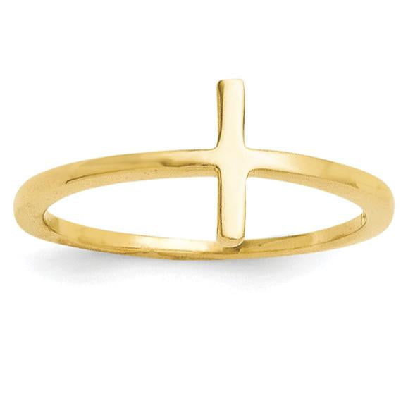 Sterling Silver Yellow Gold-plated Sideways Cross Ring - shirin-diamonds
