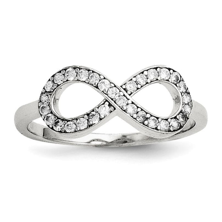 Sterling Silver with CZ Infinity Ring - shirin-diamonds