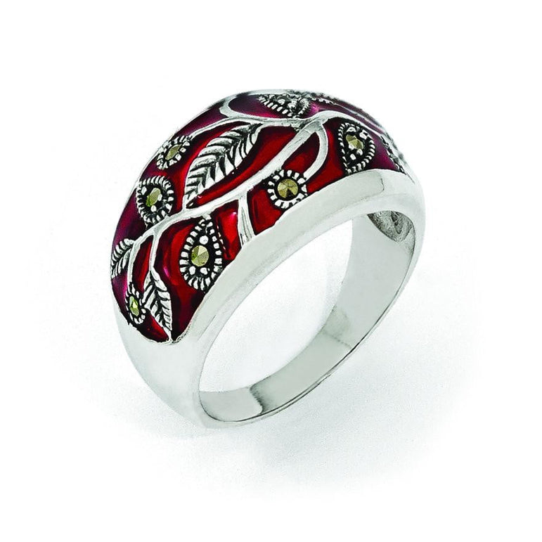 Sterling Silver Marcasite & Red Epoxy Ring - shirin-diamonds