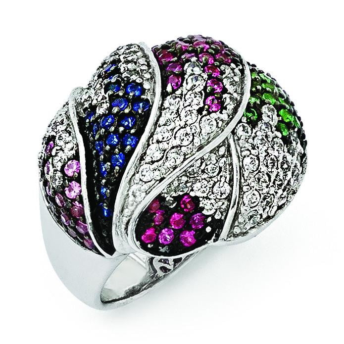 SS Black Rhodium Blue/Grn Glass Lt & Drk Synth. Ruby & CZ Ring - shirin-diamonds