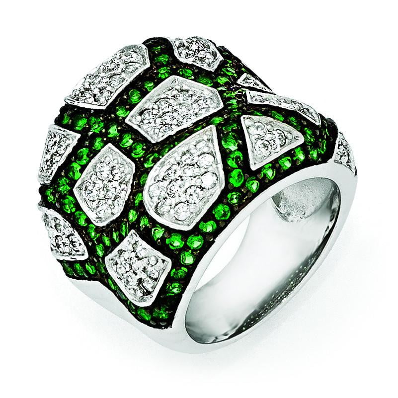Sterling Silver & Black Rhodium Green Glass & CZ Ring - shirin-diamonds