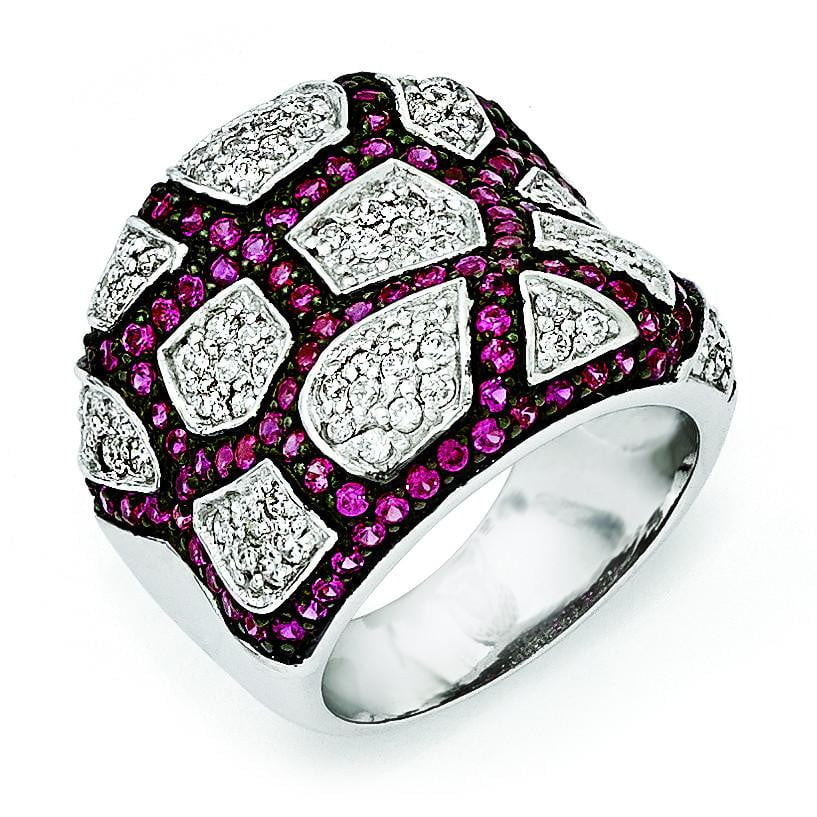 Sterling Silver & Black Rhodium Synthetic Ruby & White CZ Ring - shirin-diamonds
