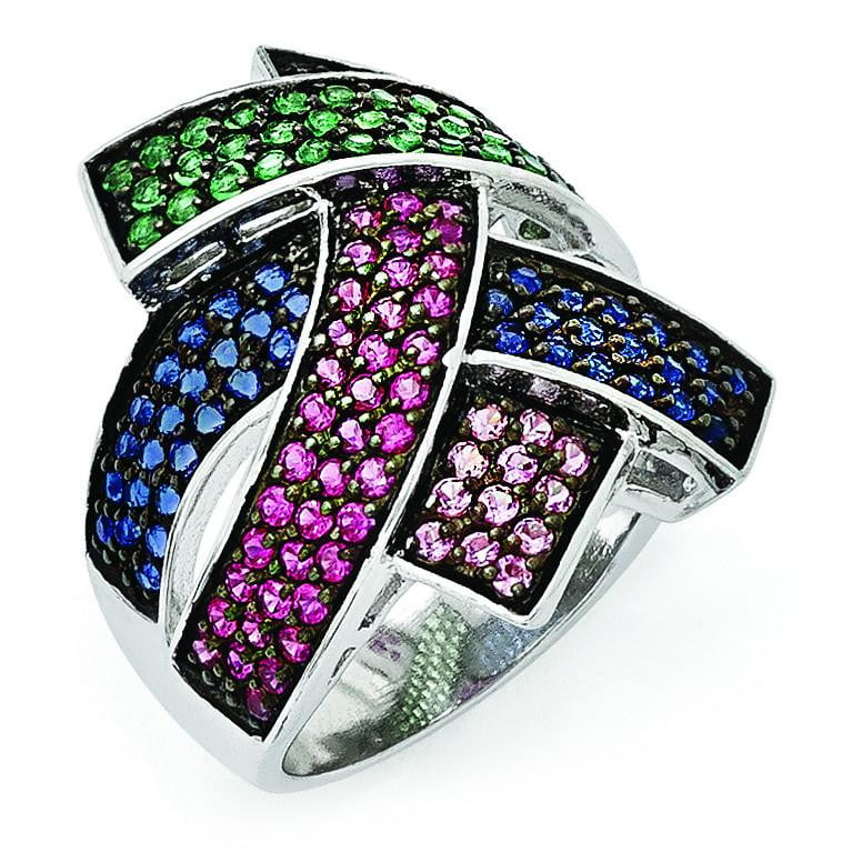 Sterling Silver Blk Rhodium Blue/Grn Glass Lt & Drk Synth. Ruby Ring - shirin-diamonds