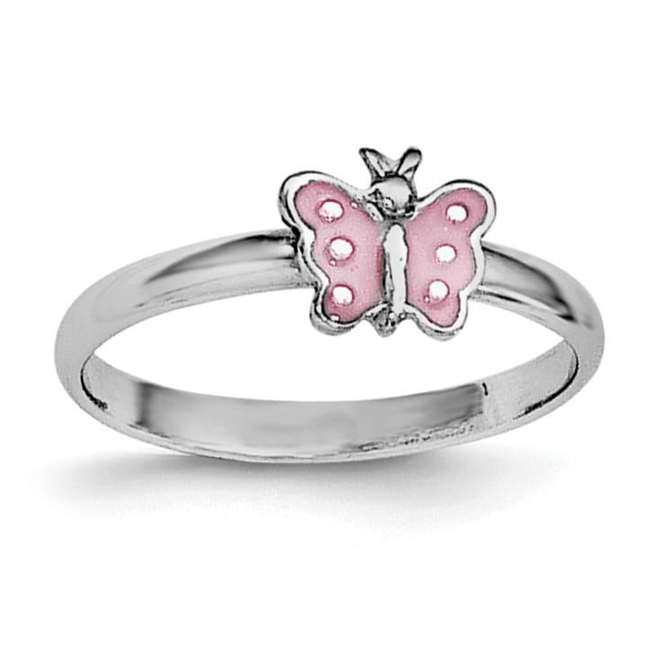 Sterling Silver RH Plated Child's Enameled Butterfly Ring - shirin-diamonds