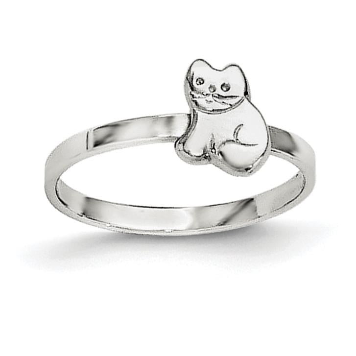 Sterling Silver RH Plated Child's Polished Kitty Cat Ring - shirin-diamonds