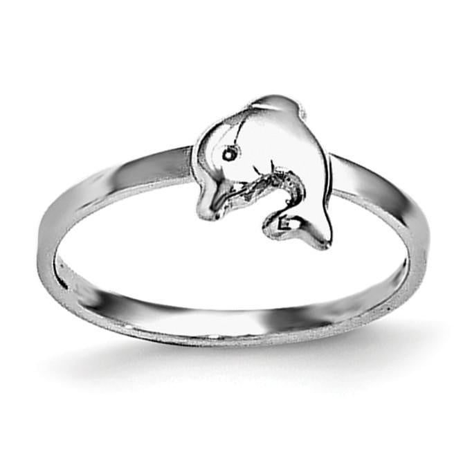 Sterling Silver RH Plated Child's Polished Dolphin Ring - shirin-diamonds