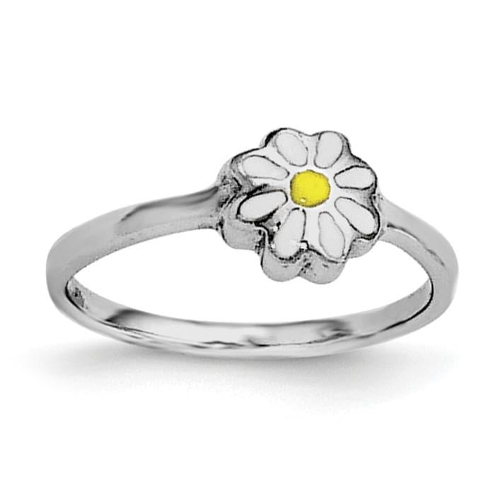 Sterling Silver RH Plated Child's White & Yellow Enamel Daisy Ring - shirin-diamonds