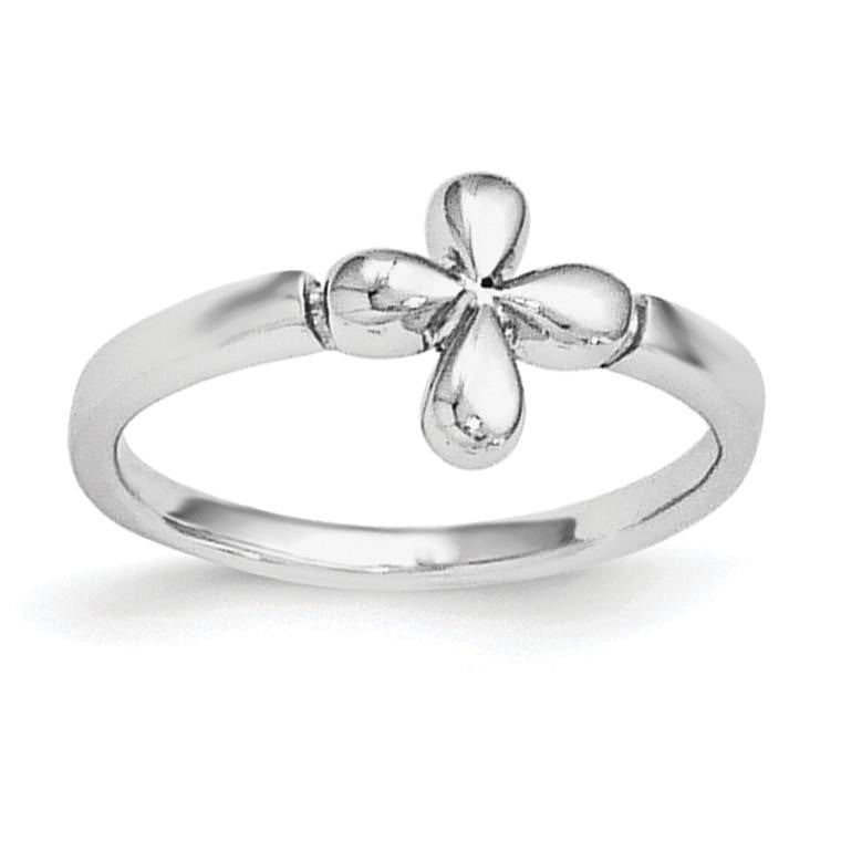 Sterling Silver RH Plated Child's Polished Cross Ring