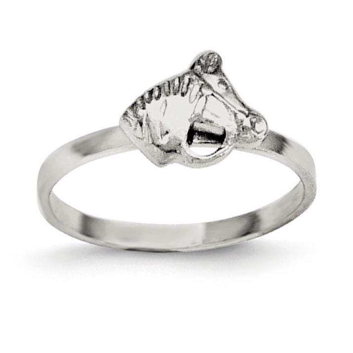Sterling Silver RH Plated Child's Polished Horse Ring - shirin-diamonds