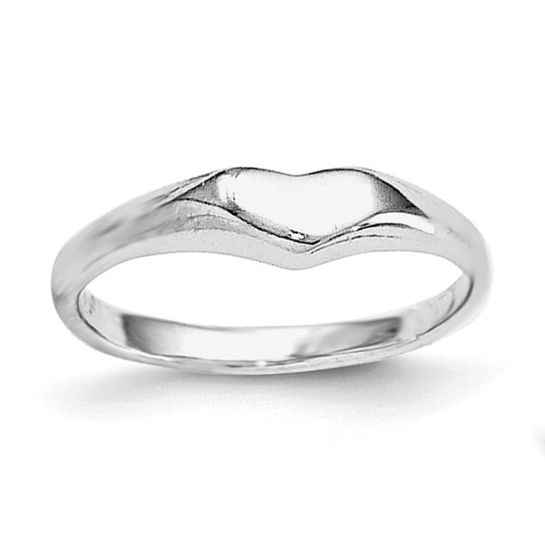 Sterling Silver RH Plated Child's Polished Heart Ring