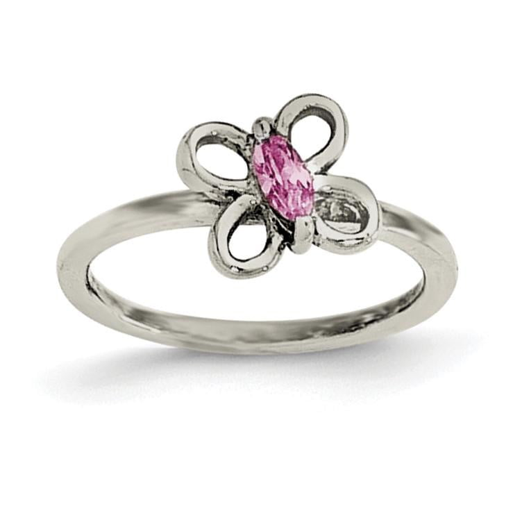 Sterling Silver Pink CZ Butterfly Kid's Ring - shirin-diamonds