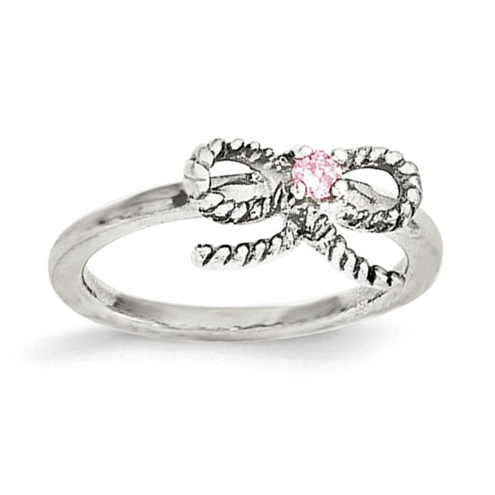 Sterling Silver Pink CZ Bow Kid's Ring - shirin-diamonds