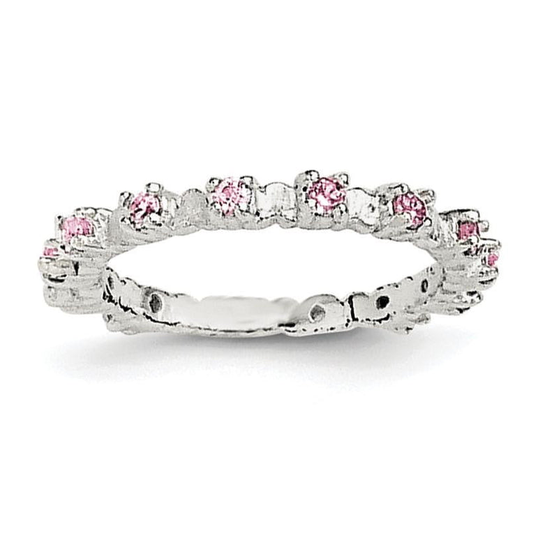 Sterling Silver Pink and White CZ Kid's Ring - shirin-diamonds