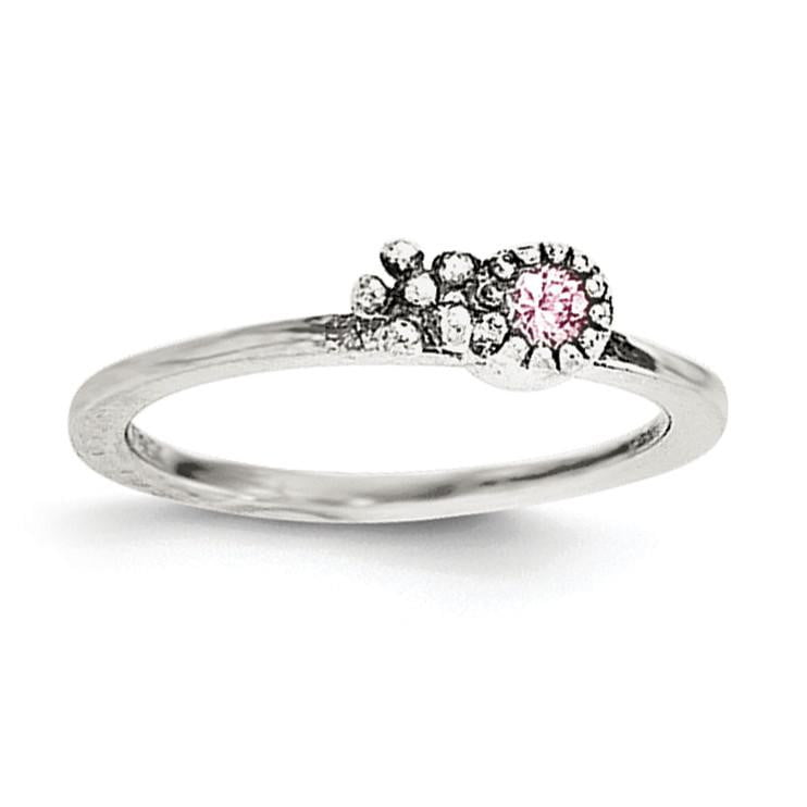 Sterling Silver Pink CZ Flower Kid's Ring - shirin-diamonds