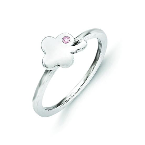 Sterling Silver Pink CZ Clover Kid's Ring - shirin-diamonds