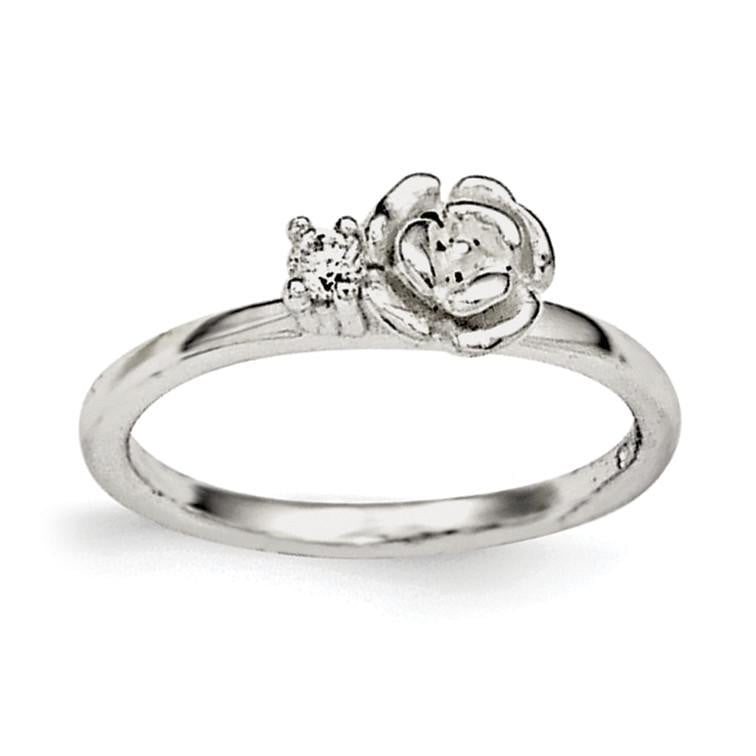 Sterling Silver Clear CZ Rose Kid's Ring - shirin-diamonds