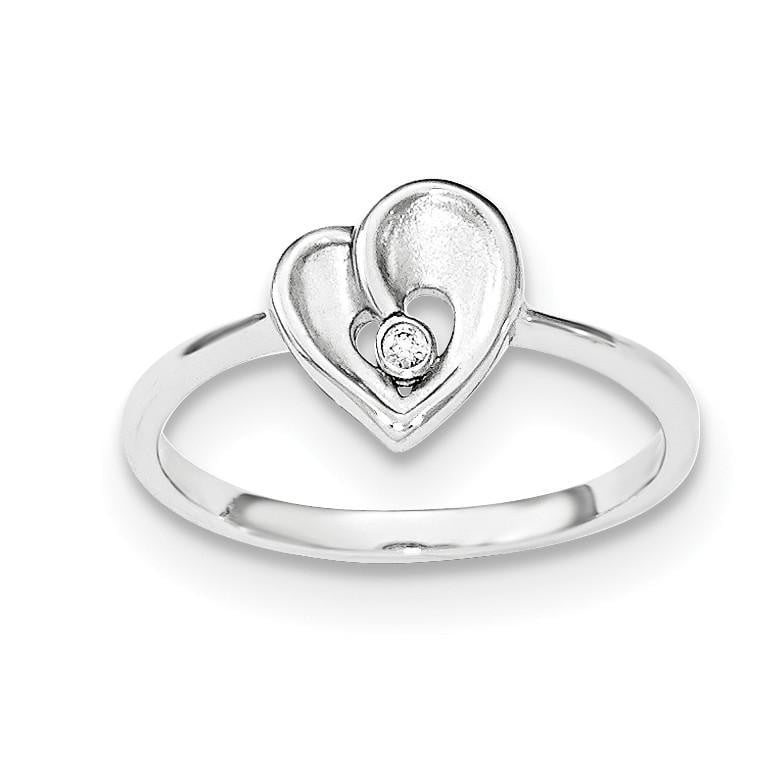 Sterling Silver Polished & Sandblast CZ Heart Ring - shirin-diamonds